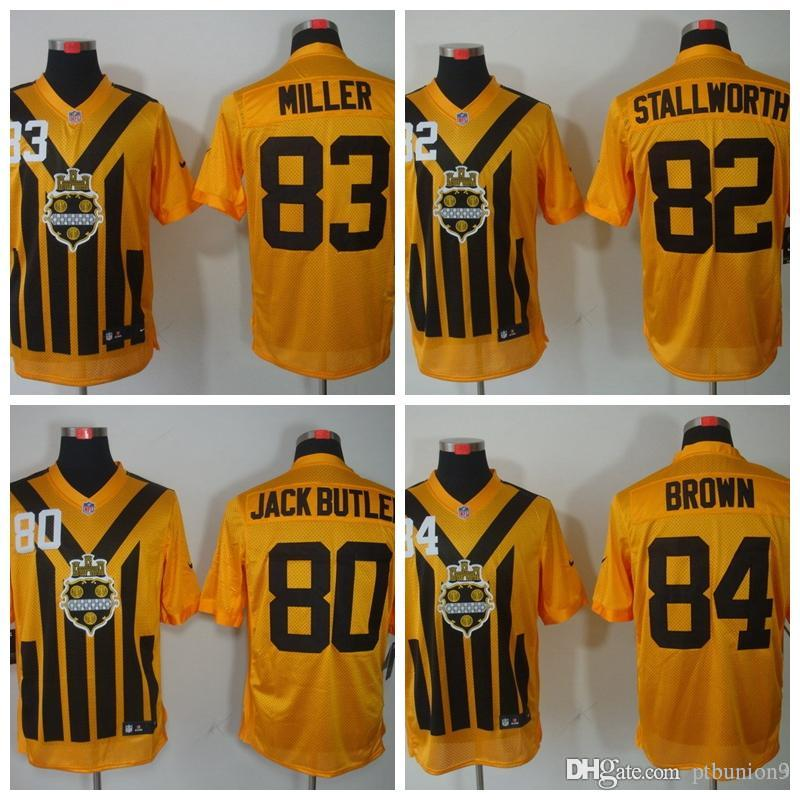 brand new 2902c e1e64 2018 Mens Pittsburgh #80 Jack Butler 84 Antonio Brown 83 Heath Miller 82  John Stallworth Yellow Short sleeve Limited Steelers Jerseys