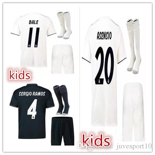 ca78357ec Kids Real Madrid Soccer Jersey 2018-19 CHILD Home White Away Black ...