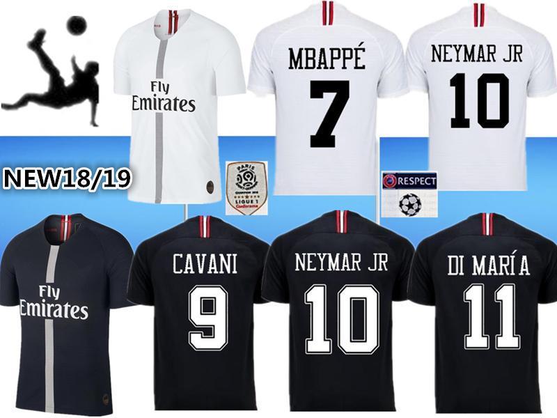 2018 Nueva Camiseta Psg 18 19 Liga De Campeones MBAPPE Negro Blanco CAVANI  VERRATTI TRACKSUIT MARIA Jordam Camisetas De Fútbol Camisa De Pie Maillot  De ... f41c9bbbe5f56