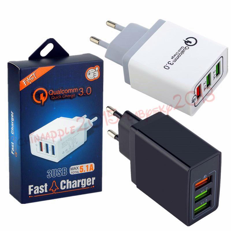 US EU UK carregador de parede 3 USB QC adaptador de 3,0 rápido carregadores de parede carga para ipad iphone 7 8 x 10 samsung S7 S8 S9 telefone android com caixa
