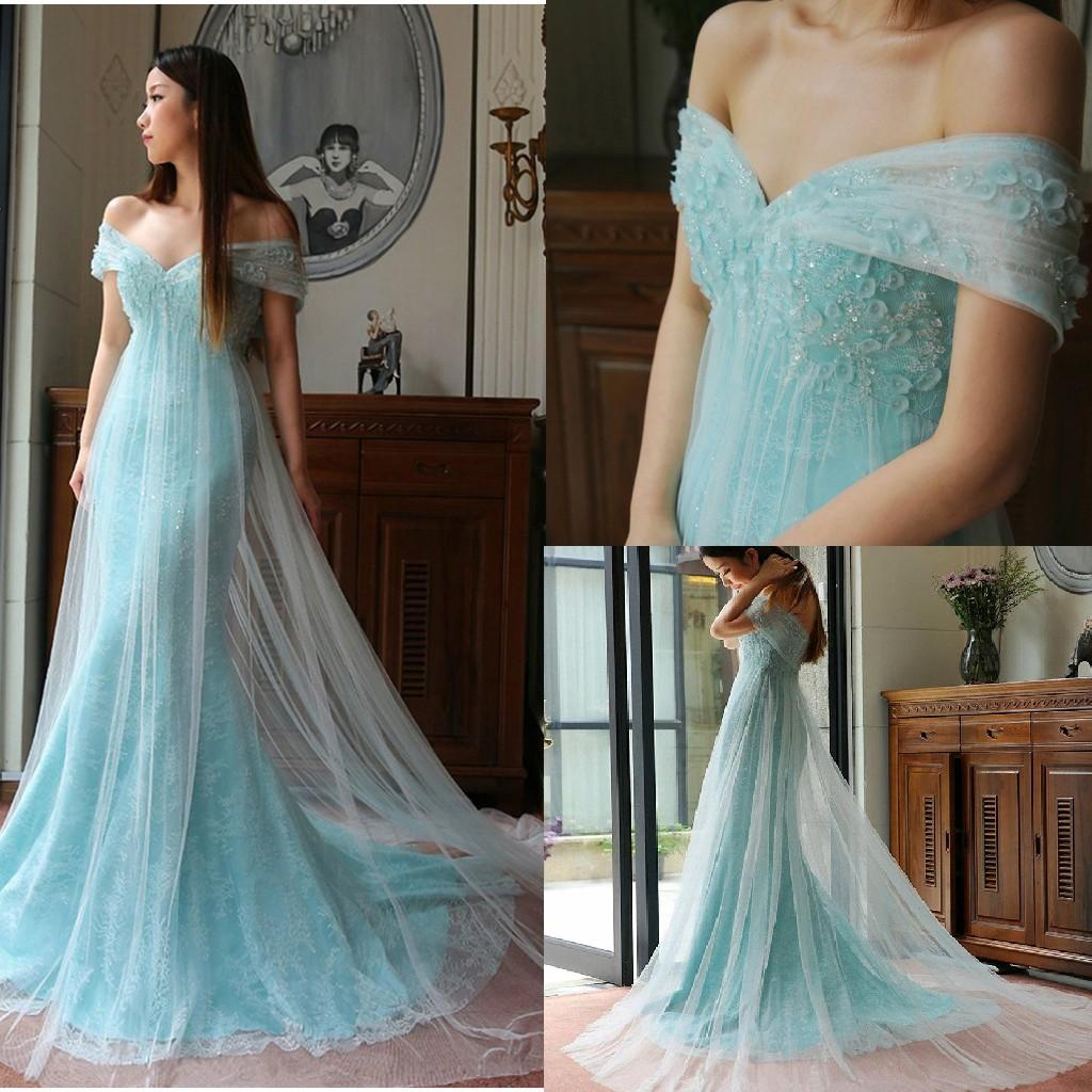 d7713e2e28c8 Light Blue Off Shoulder Prom Dresses Soft Tulle Cover Lace Applique Evening  Gowns Sexy Backless Sweep Train Formal Party Dress 137 Red Prom Dress  Vintage ...