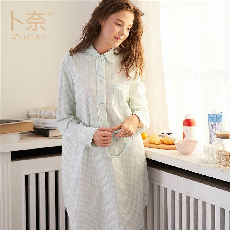 2ce59012e0 2019 Plus Size 100% Cotton Women S Flannel Boyfriend Nightshirt Nightgown  Nightdress Pink Plaid Cat Sleepwear Sleepshirt Nigh Pockets From Xiayuhe