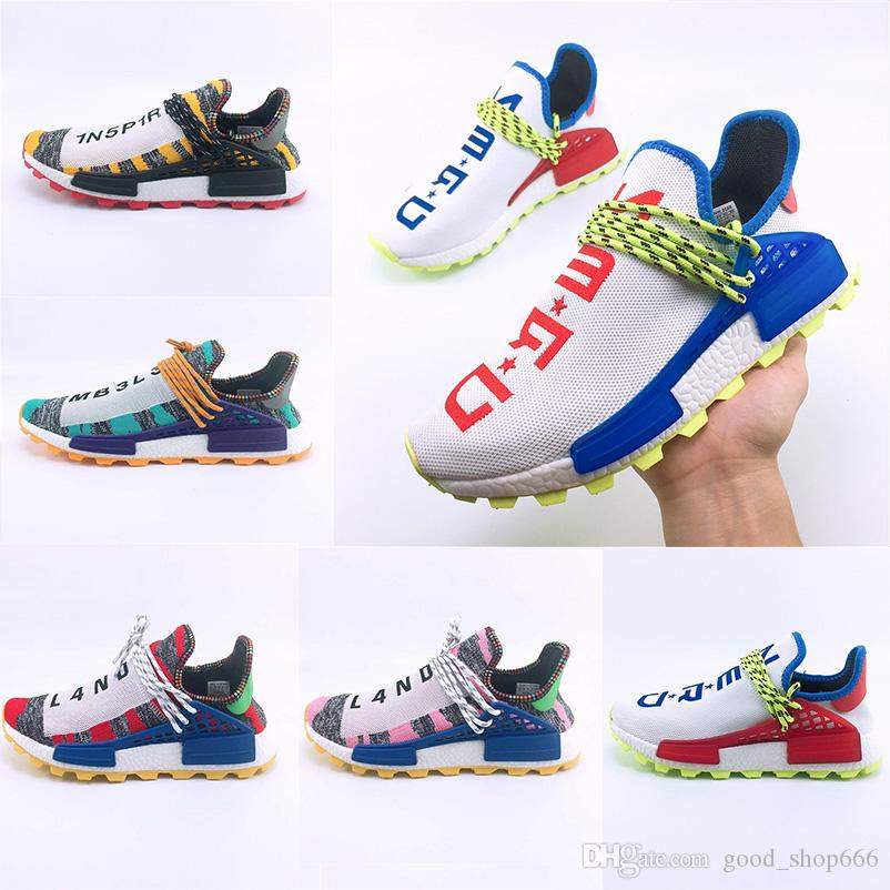 58424349c2e48 Big Size 36 47 Newest Human Race Hu Trail X Pharrell Williams Men Women  Running Shoes Solar Pack Afro Holi Blank Canvas Trainers Sneakers Racing  Shoes Good ...