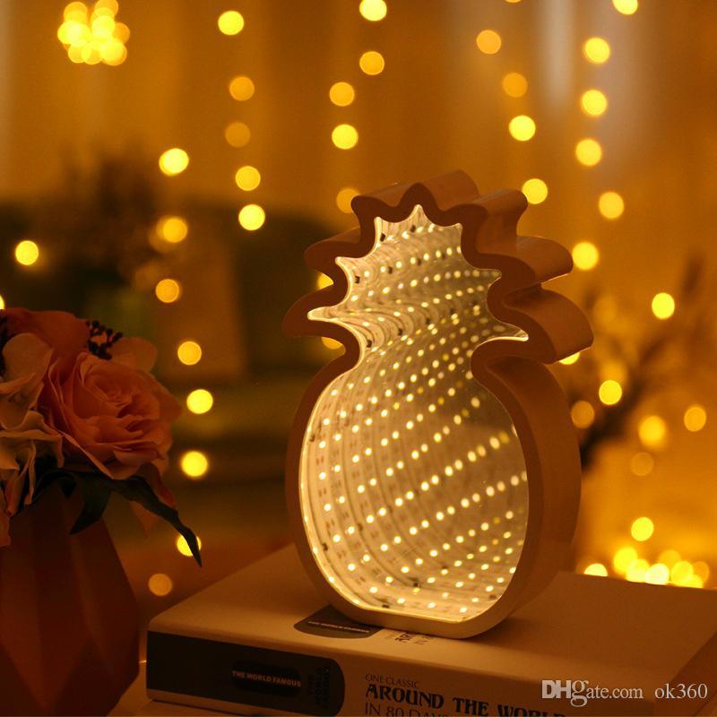3D Night Light Creative Nouveauté Tunnel LED mur Lampe décorative Pineapple Moon Star Nuage Fleur d'éclairage de bureau pour enfant Chambre cadeau