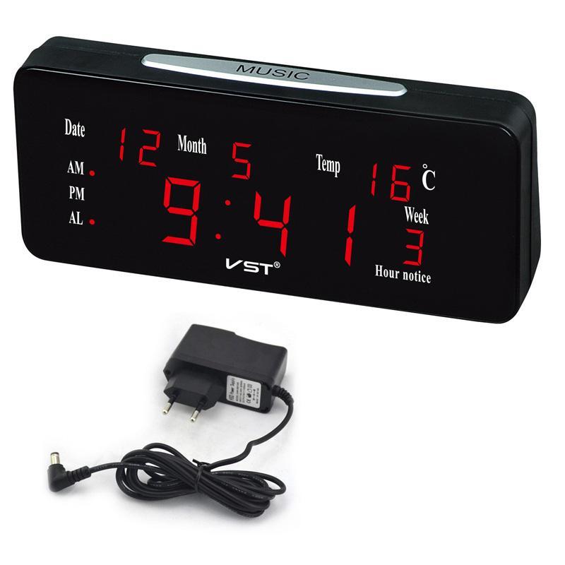 Calendario Elettronico.Led Digital Sveglia Grande Cifra Calendario Elettronico Da Tavolo Loud Dual Sveglia Clock Nixie Desktop Con Musica Di Temperatura