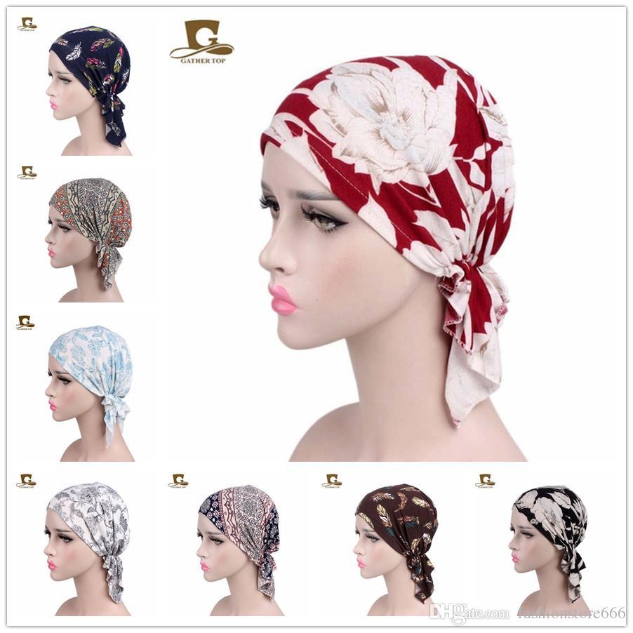New Fashion Women Cotton Bandana Scarf Pre Tied Chemo Hat Beanie Turban  Headwear For Cancer Patients Hair Accessories Ski Hats Newborn Hats From ... fb05b490b576