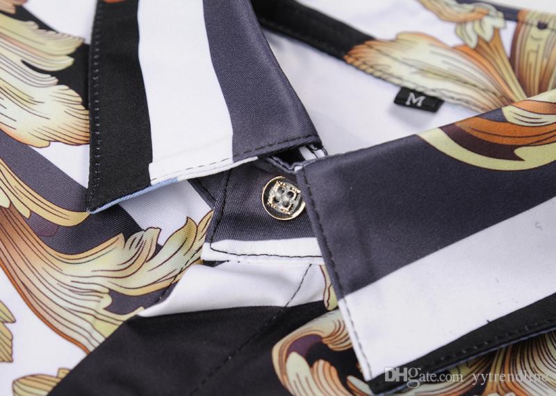 Hot Sale-Famous Brand design clothes hombres Rayas golden dragon flower print camisa manga larga 3d Baroque impresión Medusa hombres