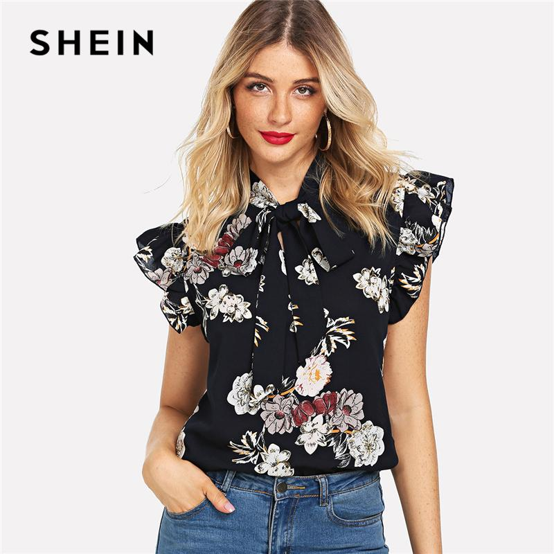 d5ff9db5a076c 2019 SHEIN Navy Floral Print Ruffle Tie Neck Flutter Sleeve Blouse Elegant  Workwear Tops And Blouses Women Summer Stand Collar Tops From Ruiqi01