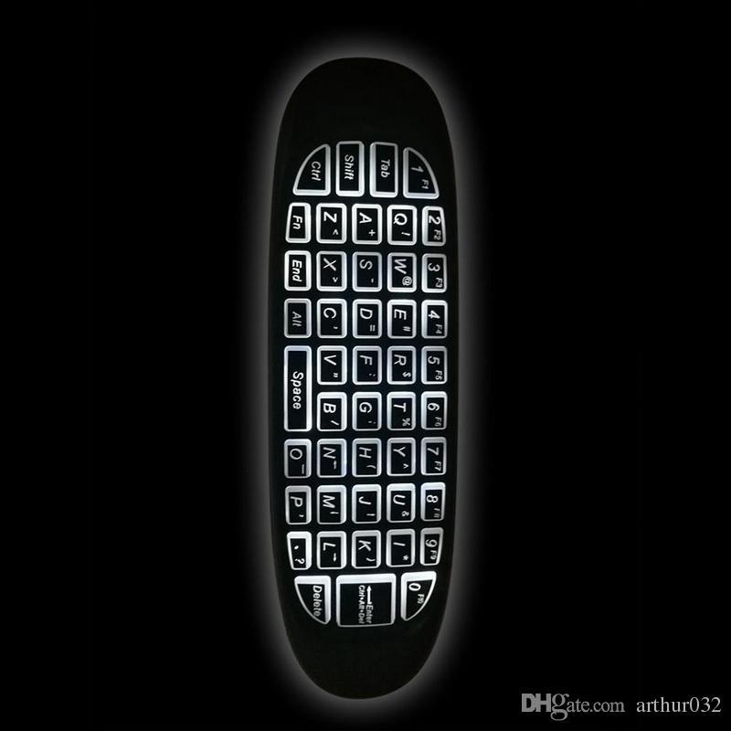 C120 podświetlenie myszą myszą lotniczą 2.4 GHz bezprzewodowej klawiatury 6-osiowej Grörospope gry Handgrip pilot do Android TV Box Podświetlany
