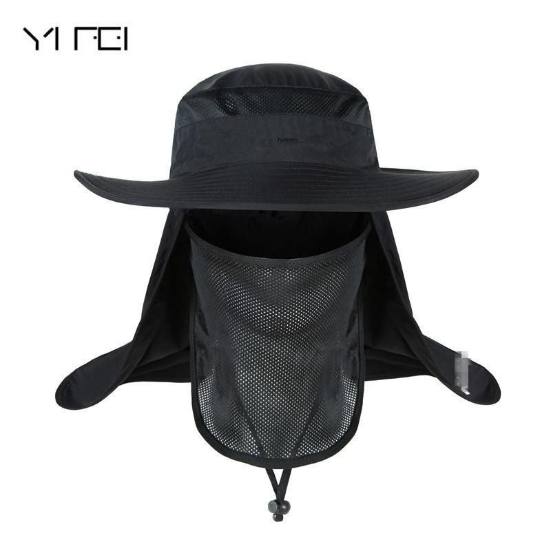 1f241a336a0 2019 YIFEI Waterproof Big Bucket Hats With A Wide Brim New Summer Wind  Proof Sun Hat SPF 30+ UV Protection Fishing Hat Fisherman Cap From  Sport2017