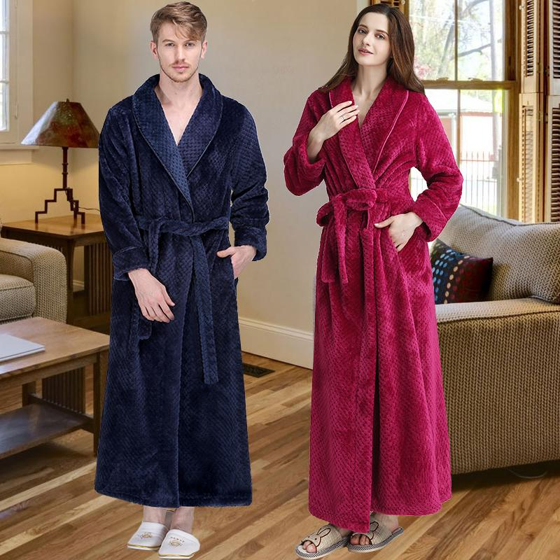 2019 Men Women Winter Extra Long Thicken Grid Flannel Warm Bath Robe