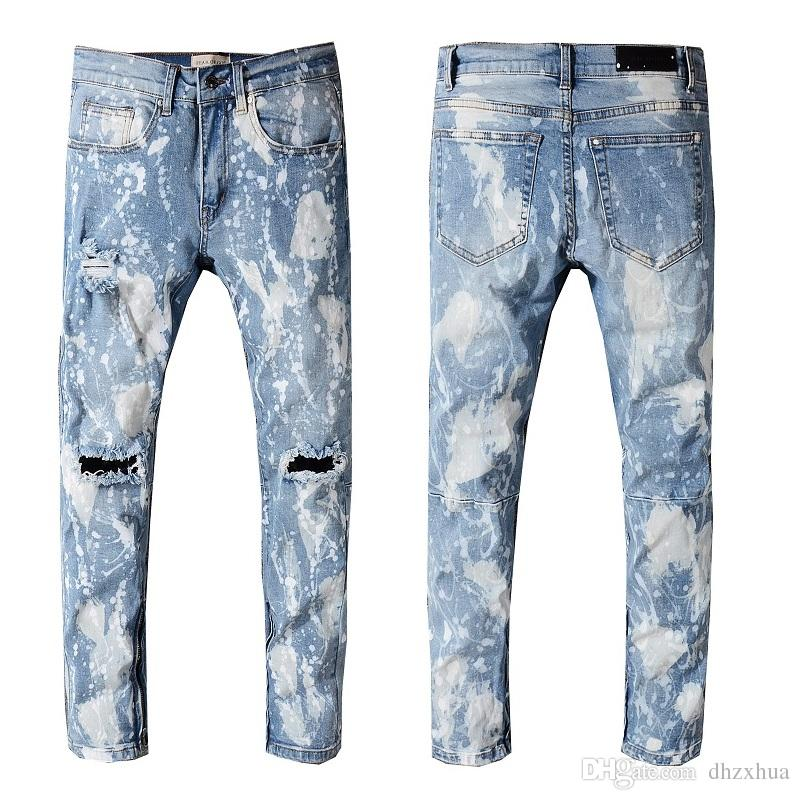2d8c5836 2019 2018 Men'S Distressed Ripped Skinny Biker Jeans VINTAGE Brand Designer  Slim Mens Motorcycle Moto Denim Jeans Hip Hop Pants 216 From Dhzxhua, ...