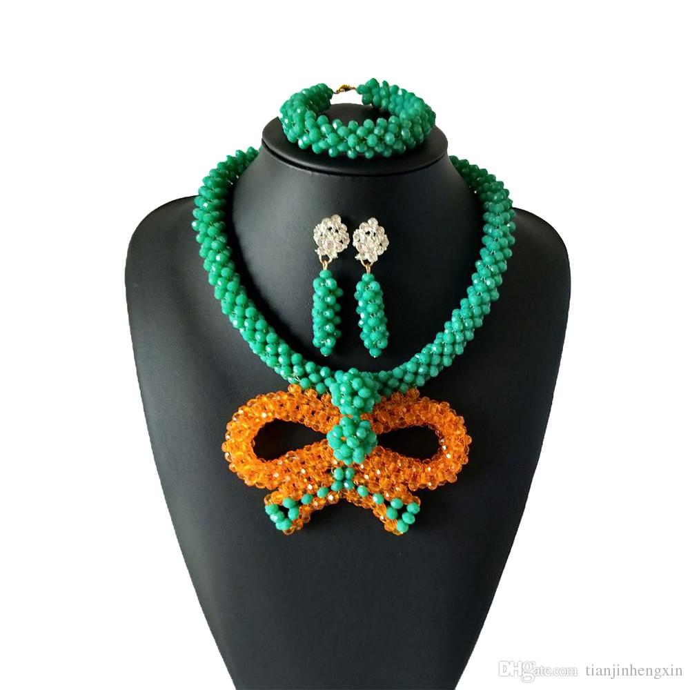 Orange Green Coral Beads Wedding Bridal African Beads Jewelry Set Nigerian Jewelry Set for Women Free Shipping