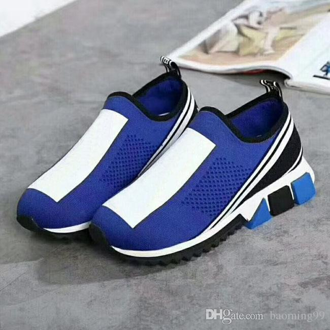 2018 Hot selling Newest Designer Women'S Men's Sneakers Sock casual shoes Yellow Women Shoes Blue Men sock shoes 35-46 with box