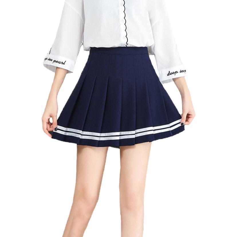6f651156c4 Compre Faldas Mujer Moda 2018 Moda Mini Falda Plisada Estudiantes Falda De  Béisbol Uniformes Falda De La Raya Faldas De Cintura Alta Para Las Mujeres  A ...