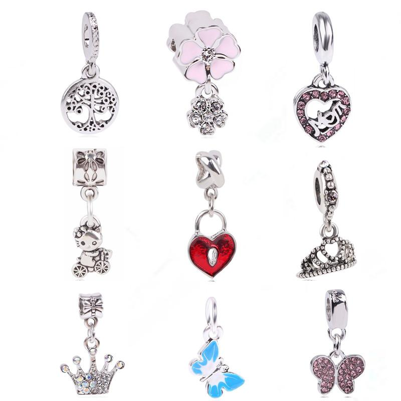 8f017c3a13093 dodocharms Original Silver Color Charms Butterfly Tree Crown MOM CZ Crystal  Beads For Bracelets DIY Pendant Jewelry
