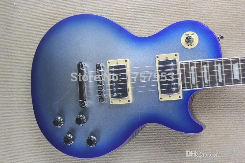 Frete Grátis Fábrica custom shop 2015 novo CUSTOM Kiss SILVER / BLUE explosão sunburst Guitarra Elétrica AZUL BORNE SPARKLE 1 1