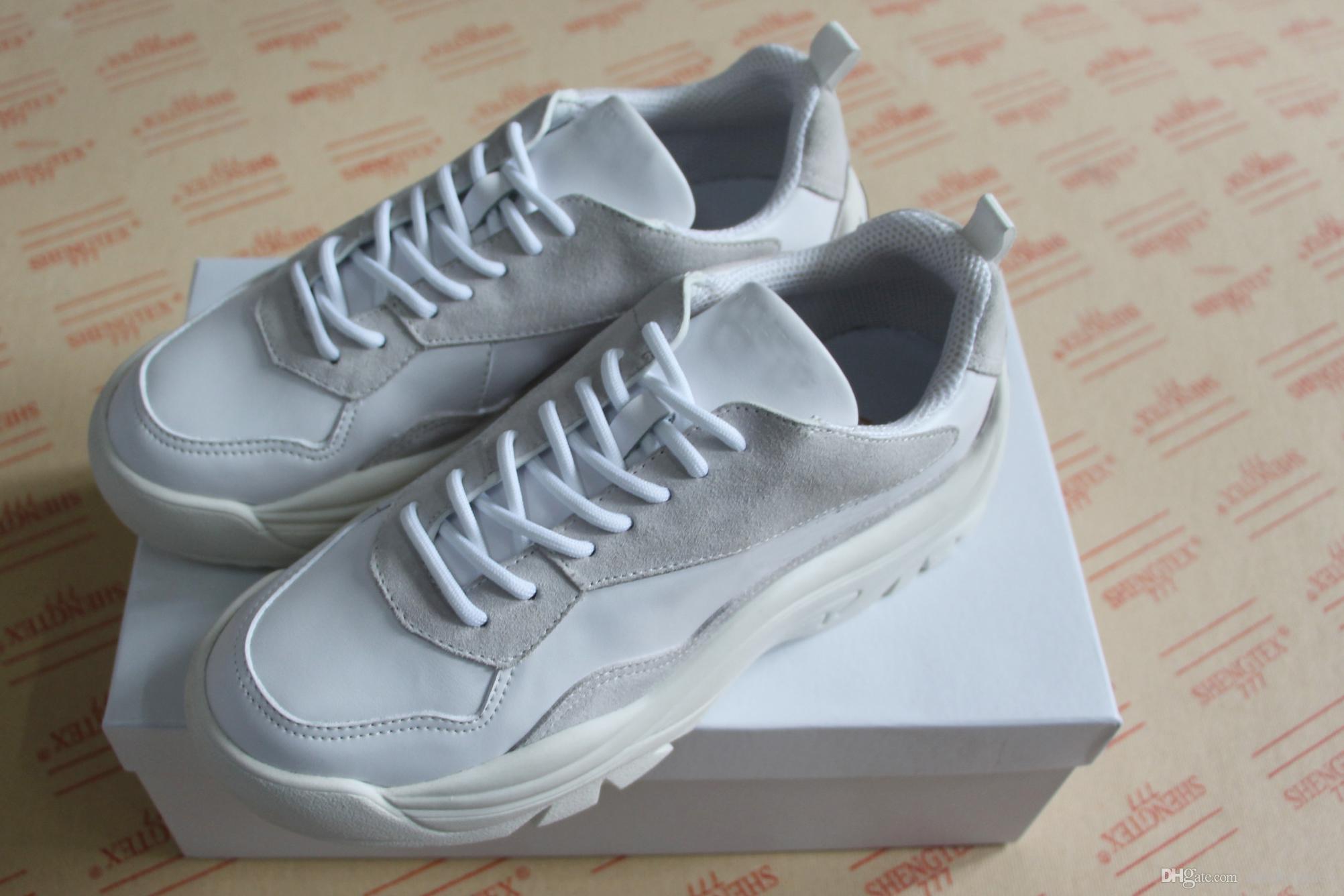 4c2b1222d7ae Acheter Nouvelle Mode Haut Marque Suede En Cuir Baskets Hommes Femmes Sport  Designer Chaussures Top Qualité Semelle En Caoutchouc Chaussures Italiennes  ...