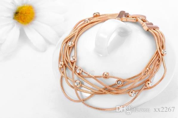 Jewelry Wholesale Austrian crystal rose gold chain multi-wire white diamond bracelet