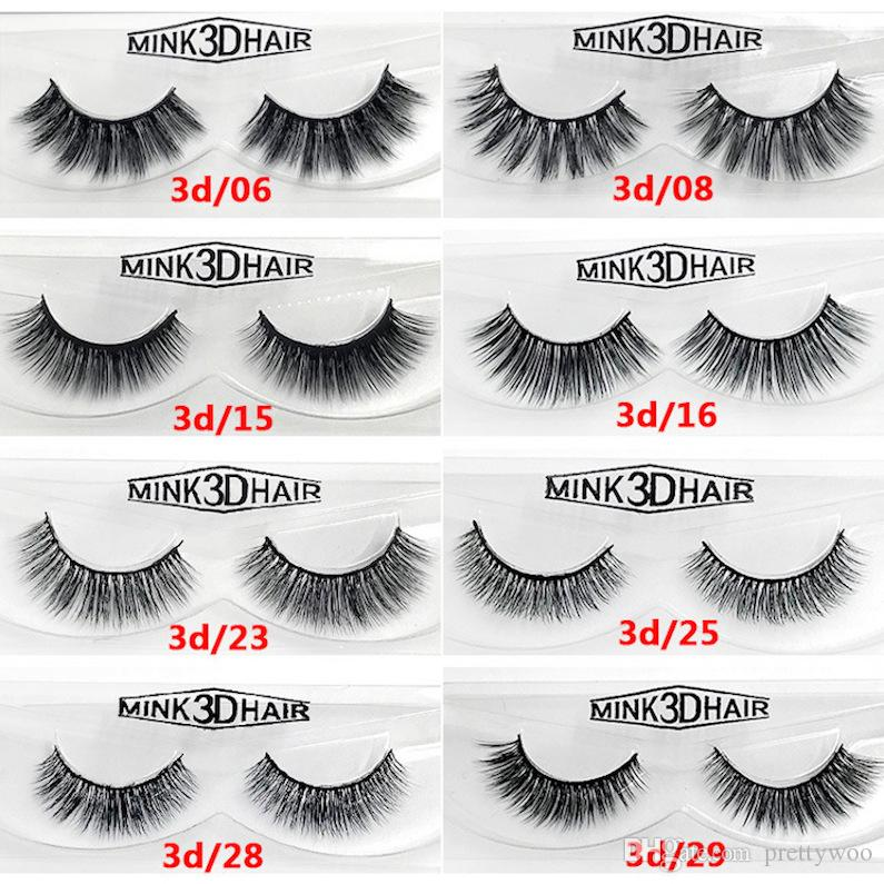 12 styles 2pcs/pair 100% Real Siberian 3D Mink Full Strip False Eyelash Long Individual Eyelashes Mink Lashes Extension 2 sets drop shipping