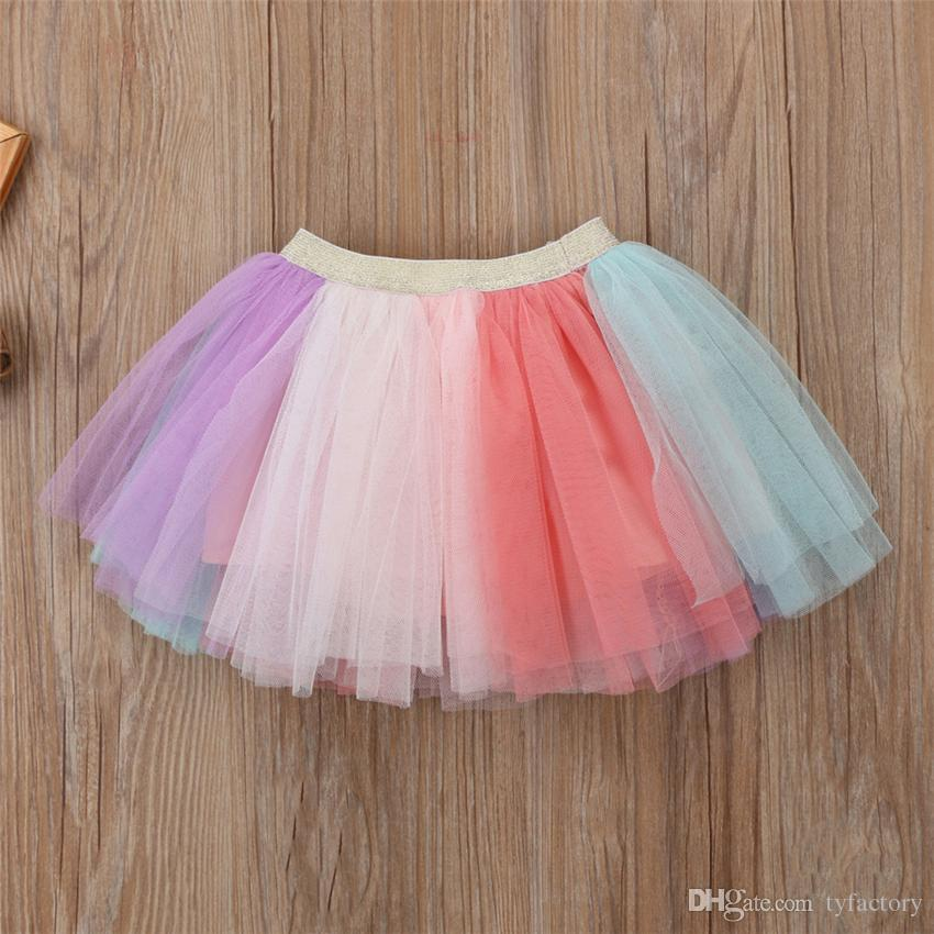 Cute Summer Kid Girls Unicorn Pink T-shirt Tutu Rainbow Skirt Dresses Outfits Fashion Baby Clothes Kid Girl Princess Dress Clothing