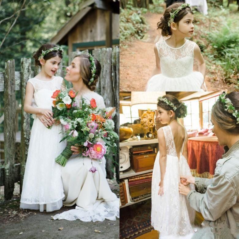 Boho Blush Pink Wedding Dresses 2017 Pretty 3d Flower Lace: 2017 Lovely White Lace Chiffon Boho Flower Girl Dresses