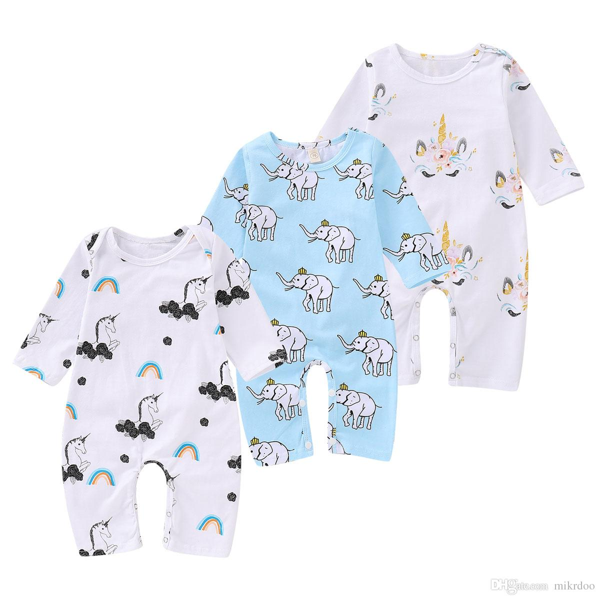 ddc63505d17b 2019 Mikrdoo Toddler Newborn Baby Boys Girls Romper Clothes Cartoon Unicorn  Elephants Print Jumpsuit Clothing Playsuit Outfit From Mikrdoo