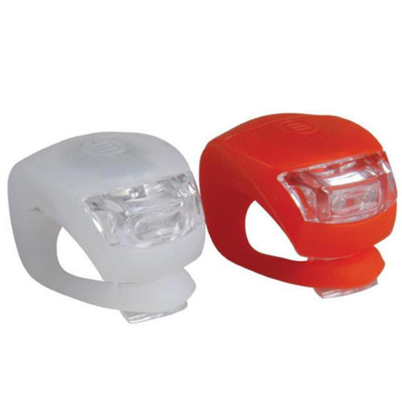 2018 New 2 x LED Bicycle Bike Cycling Silicone Head Front Rear Wheel Safety Light Lamp #NE827