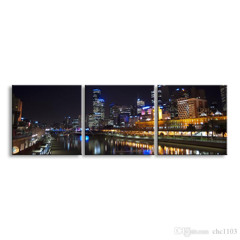 3 pieces high-definition print night view canvas prints painting poster and wall art living room picture CSYJ3-009