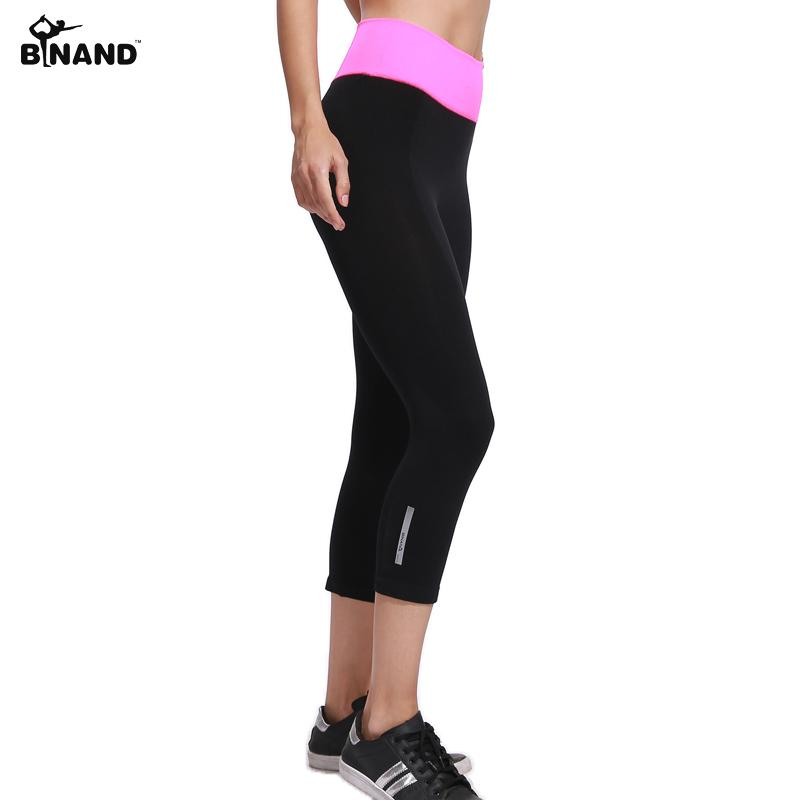 c93ac484ca22d BINAND Women Elastic Yoga Sports Pants Running Exercise Tight Fitness Gym  Quick Dry Training Pants Workout Breathable Capris