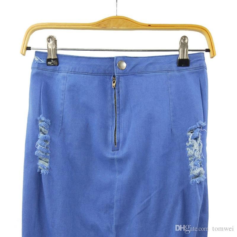 Mulheres Saias Jeans Plus Size Saias Lápis De Cintura Alta Na Altura Do Joelho Buracos Rasgado 2018 Luz Azul S-XXL Nova Moda