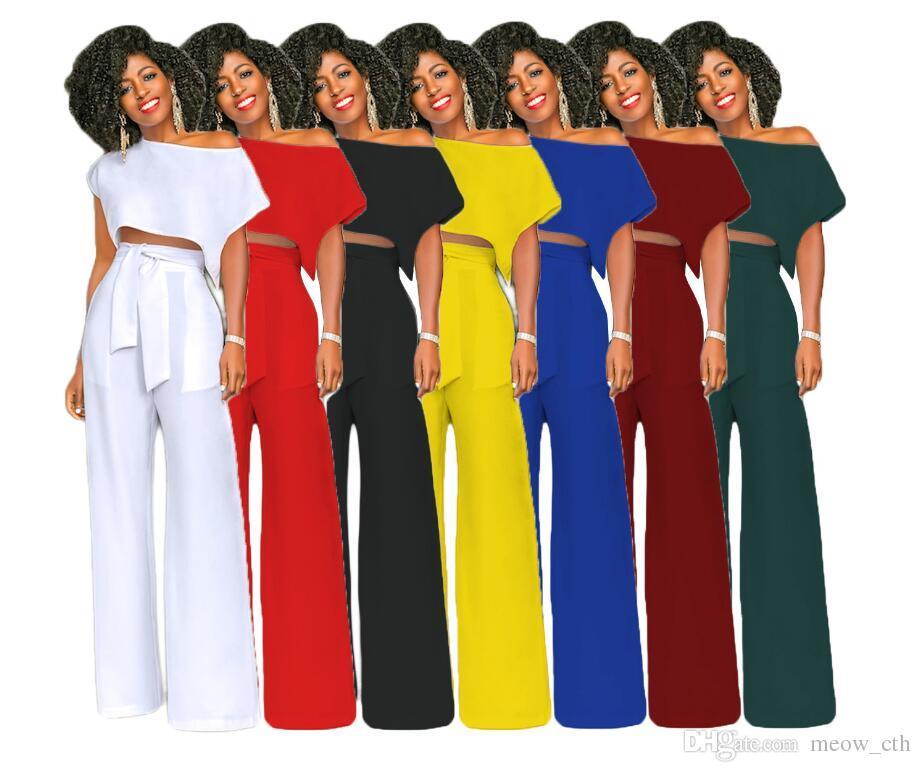 due pezzi Abiti estivi di moda Top corto da donna Pantaloni larghi Pantaloni Set manica corta Vita alta Cravatta 2 pezzi Set Donna