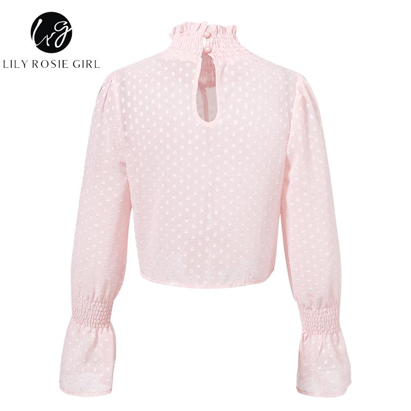 Lily Rosie Girl See Through Women Blouse Shirt Ruffle Lace Sexy Crop Top Autumn Winter Solid Long Sleeve Chiffon Blouse White