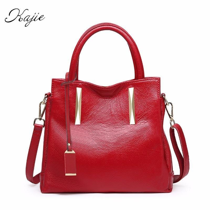 8d9ecf192a10 Kajie 2018 Genuine Leather Bag Female Famous Luxury Designer Brand Bags  Women Real Cowhide Handbags High Quality Shoulder Bags Genuine Leather Bag  Brand ...