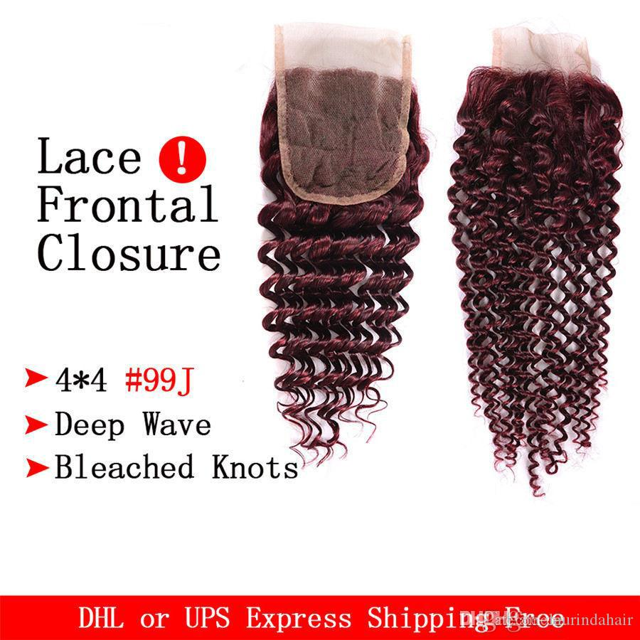 Burgundy Deep Wave Brazilian Virgin Hair Red Raw Deep Curly Wave 99j Human Hair Weave Wet And Wavy 3 Bundles With Lace Closure