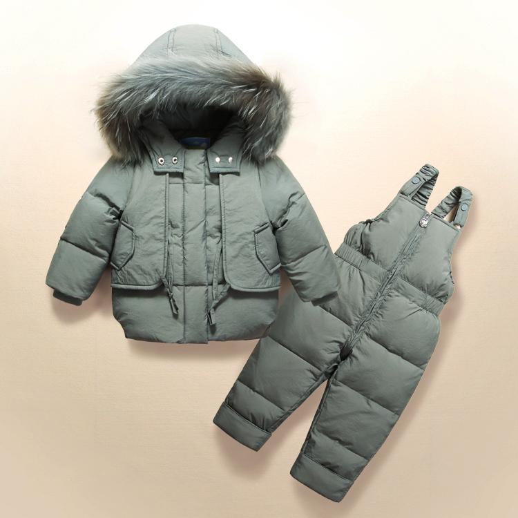 86bfd8f7cb8b Snowsuits Girls Cold Winter Rompers Hooded Boy Baby Clothes 90% Duck ...