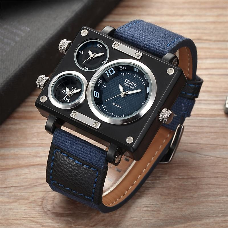 Wholesale-Oulm Fabric Strap Male Square Watch Mens Watches Top  Watches  Designer Clock Casual Man Hours 2017