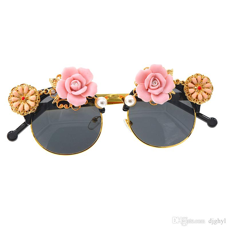 New Arrival Baroque Sunglasses Women Metal Wrap Eyeglasses Cat Eye Shades Brand Designer Sun glasses Handmade High Quality
