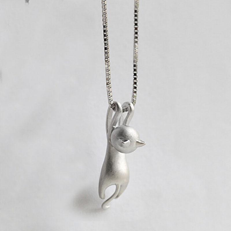 Hot Cute Women Silver Plated Necklace Tiny Cute Cat Pendant Necklace ... 4d8d42caea89
