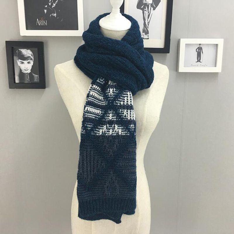 Winter Men Scarf Wool Acrylic Fabric Warmer Cashmere Scarf