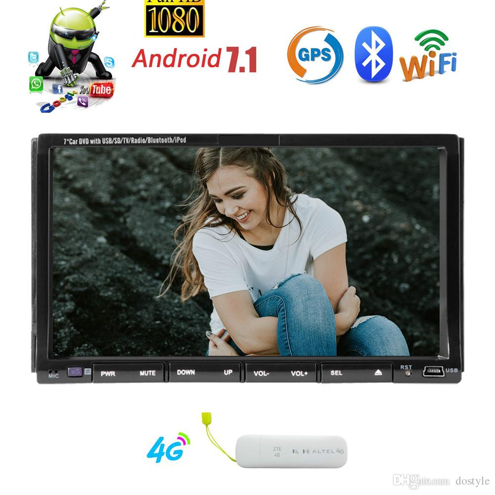 4G Dongle Android 7.1 Car Stereo 2GB+32GB Double Din Head Unit Car DVD  Player Adjustable Viewing Angle GPS Navigation Mirror Link Bluetooth Cheapest  Place ...