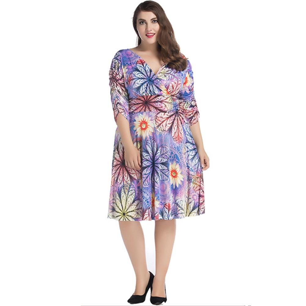 e59400ffe5c 6XL 7XL Plus Size Wrap Dress Summer Women Sexy V Neck Floral Print Midi  Dress Ruched Half Sleeve Pleated Flared Dress Purple Designer Evening Dress  Cocktail ...