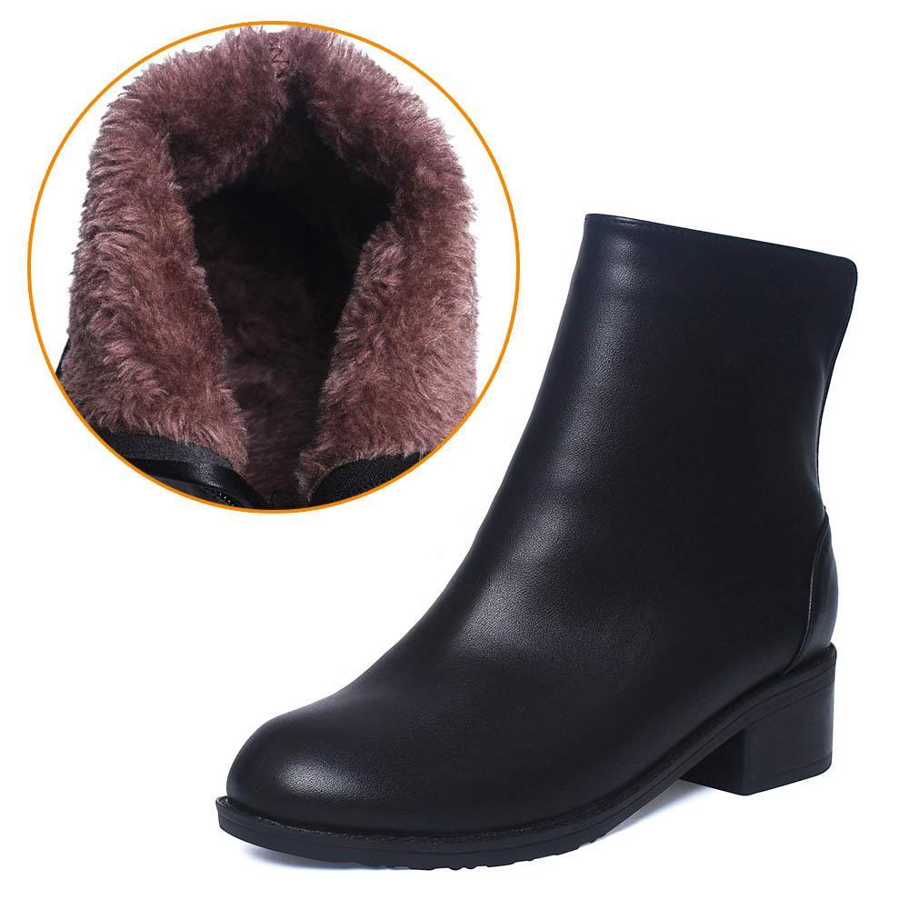 Women Boots Ankle Boots 2018 Winter Shoes Fur Chunky Heel Women's Boots  Zipper Round Toe Brand Woman Botas Black Plus Size 41 42