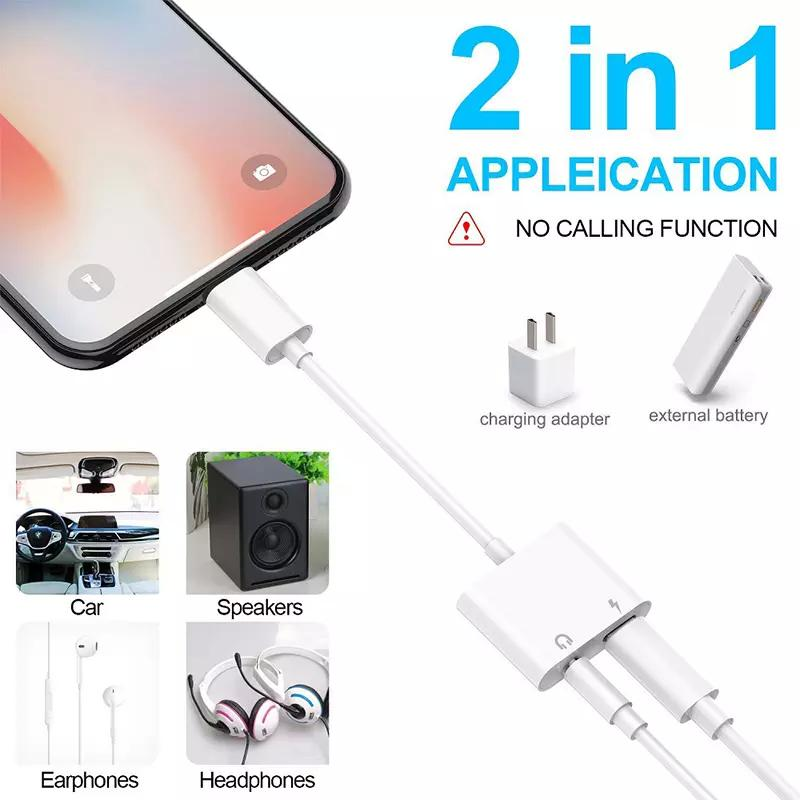Audio Charger Aapter Mini 2 In 1 Charging Music Adapter 3 5mm Headphone  Jack for Iphone7 7Plus 8 8Plus X XR XS XSMAX