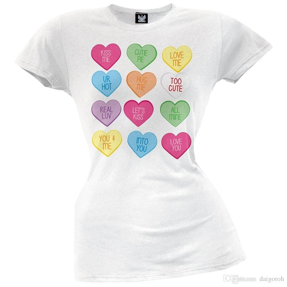 Print T Shirts Short Printing Valentine S Day Candy Hearts Juniors T
