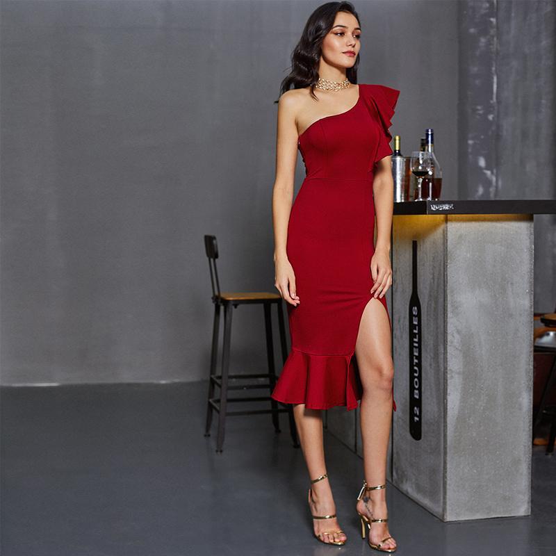 Vestido de fiesta de verano con cola de serpiente raya Borgoña Un hombro Mujer Sexy Vestido de fiesta con volantes Midi Vestido elegante de Club Empire