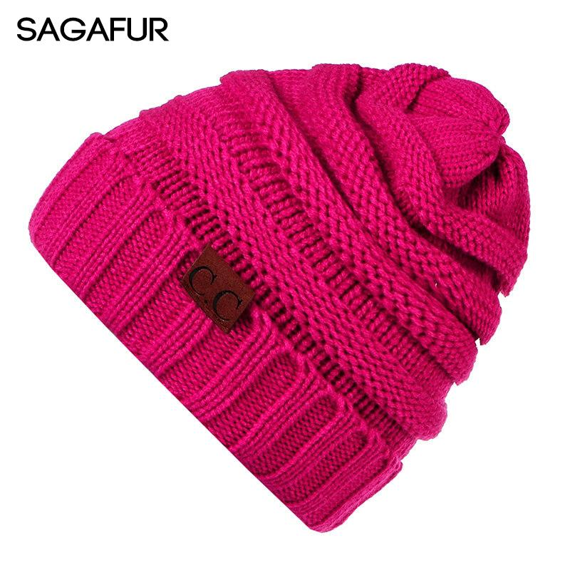 2d1268bac18 CC Beanies Hat Women s Winter Caps Knitted Hat Stretchy Skullies ...
