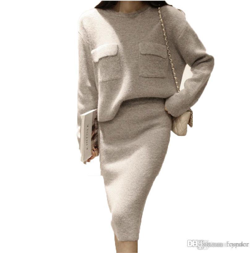 5dd203a6b39a Acheter Vente En Gros 2 Pièces Ensemble Femmes Pull À Tricoter Au Crochet  Décontracté Midi Robe O Cou Robe Pull À Manches Longues Pour L hiver De   32.88 Du ...