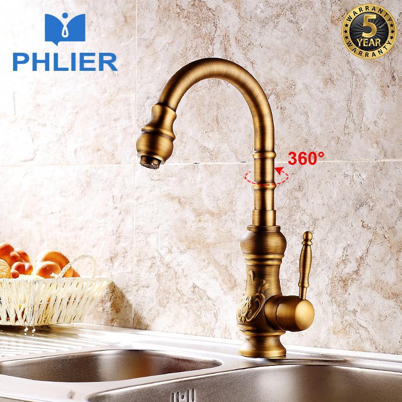 2019 Phlier Vintage Kitchen Mixer Faucet 360 Degree Swivel Antique