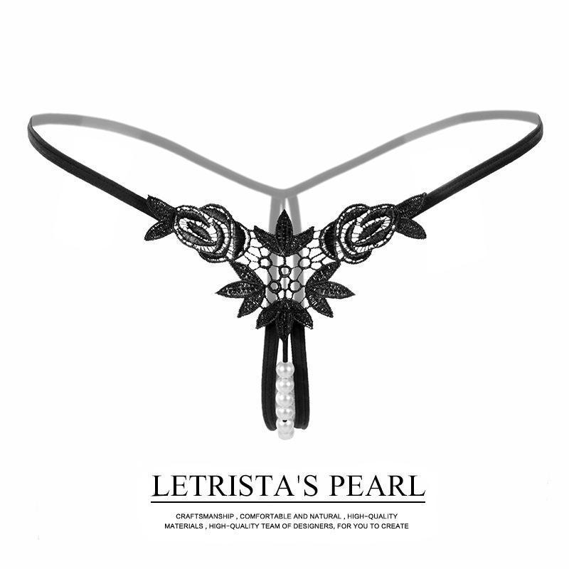 Sexy Underwear Pearl Beading Panties Flower Bikini Thong G-string Free Size T-back Panties Briefs Ladies Women Lingerie Intimate